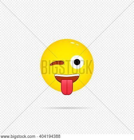 Emoji With Tongue Icon. Happy Emotion. Emoji, Tongue, Icon, Happy