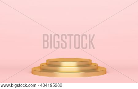 Gold Tage Podium On Pink Background. 3d Rendering