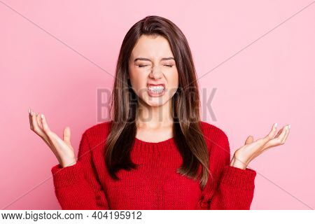 Portrait Photo Of Nervous Irritated Outraged Young Girl Wearing Red Outfit Gesturing With Both Hands