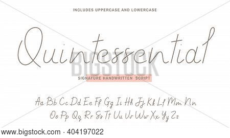 Handwritten Font Script With Uppercase And Lowercase. Signature Style, Stylish Handwritten Calligrap