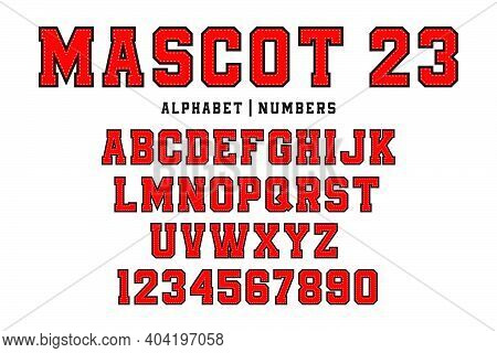 Classic College Font. Vintage Sport Font In American Style For Football, Baseball Or Basketball Logo