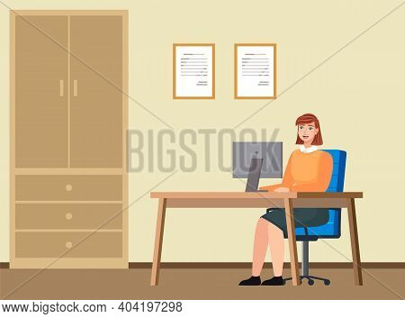 Young Red-haired Business Woman At The Desk Is Working On The Laptop Computer Vector Illustration. S