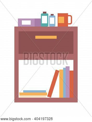 Wooden Commode With Open Shelf Isolated On White Background. Chest Of Drawers Vector Illustration. I