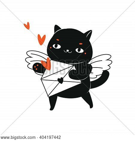 Cartoon Black Cat With Letter Envelope And Hearts. Cupid Cat Character For St Valentines Day Theme