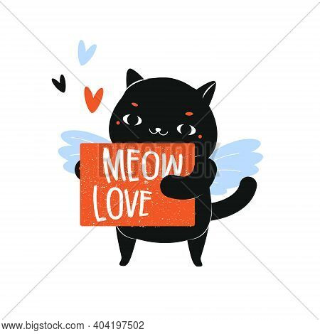 Cartoon Cat And Typography Meow Love. Cupid Cat Character For St Valentines Day Theme