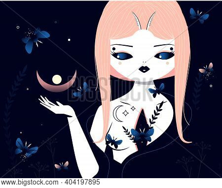 Beautiful With With Butterfly And Moth In Starry Moon Night. Mystic Illistration Of Magician Female