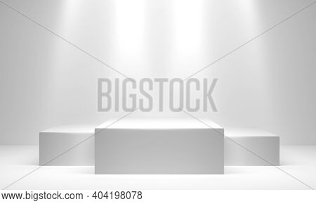 White Winners Podium With Copy Space. 3d Rendering