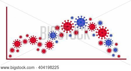 Graph Epidemic Coronavirus. Wave Virus With Mutation. Chart Growth Sick Viruses. Vector