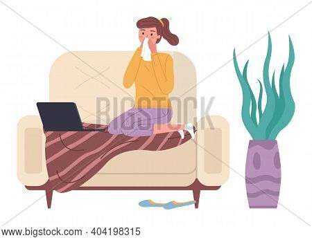 Woman Having A Cold And Sitting On The Sofa. Girl With Runny Nose Watching Video On Laptop. Female C