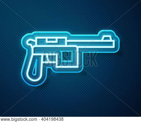 Glowing Neon Line Mauser Gun Icon Isolated On Blue Background. Mauser C96 Is A Semi-automatic Pistol