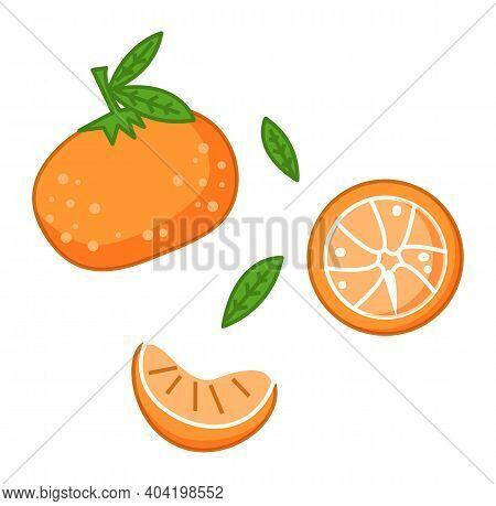 Fresh Tangerines With Green Leaves Vector Illustration. Orange Citrus Fruit Ripe Mandarin On White B