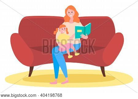 Mother Is Reading A Story To Her Child, Happy Family, Fairy Tale, Vector Graphics. Child Care, Paren