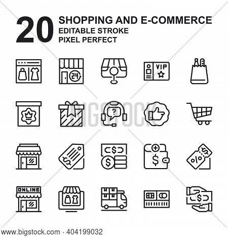 Icon Set Of Shopping And E-commerce. Outline Style Icon Vector. Contains Such Of Shopping Bag, Catal