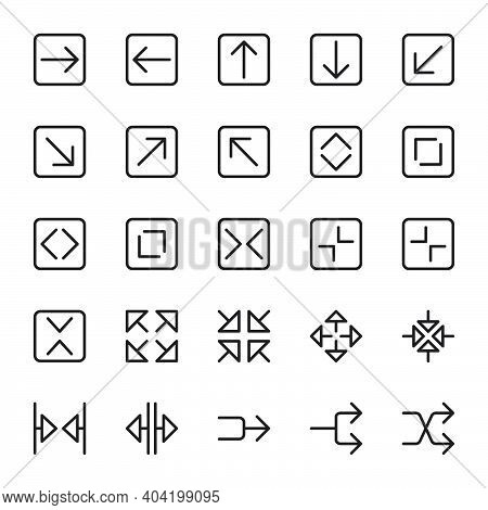 Icon Set Of Arrow. Outline Style Icon Vector. Contains Such Of Arrow Left, Right, Cursor, Zoom In, Z