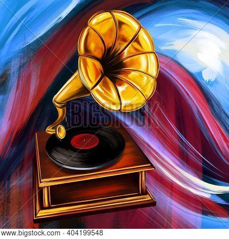 Gramophone Music Player Art Illustration Painted, Digital Art