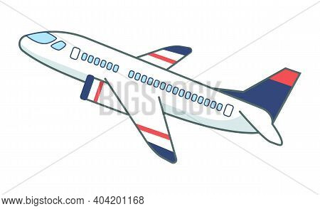 Flight Of The Passenger Plane On White Background. Airplane In Flight Position In The Air Flat Vecto