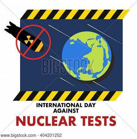 International Day Against Nuclear Tests 29th August Vector Poster. Nuclear Warheads And Bombs Fallin