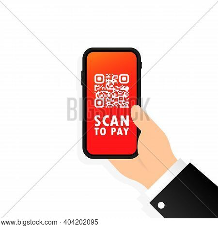 Scan Qr Code To Pay With Mobile Phone. Smartphone Scanning Qr-code. Barcode Verification. Scanning T