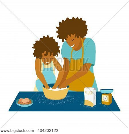 A Vector Illustration Of A Mother And Her Daughter Baking Cookies In The Kitchen. Mom Kneads Pastry,