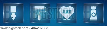 Set Palette Knife, Paint Roller Brush, Heart With Text Art And Tube With Paint Palette. Square Glass