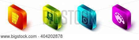 Set Isometric Palette, Spray Can Nozzle Cap, Paint Bucket And Palette Icon. Vector