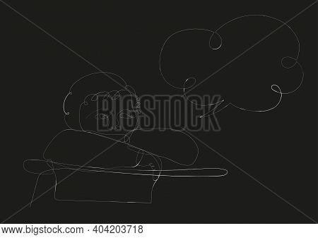 One Line Drawing Abstract Portrait Kid Standing Alone With Though Bubble. Modern Continuous Line Min