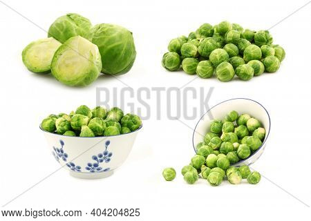 Brussel sprouts and some in a decorated bowl on a white background