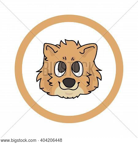 Cute Cartoon Pomeranian Face In Circle Puppy Vector Clipart. Pedigree Kennel Doggie Breed For Kennel