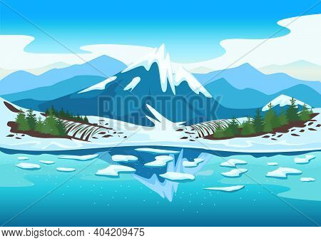 Spring Landscape With A River, Mountains In The Snow, Forest, Fields, Melting Snow. Beautiful Spring
