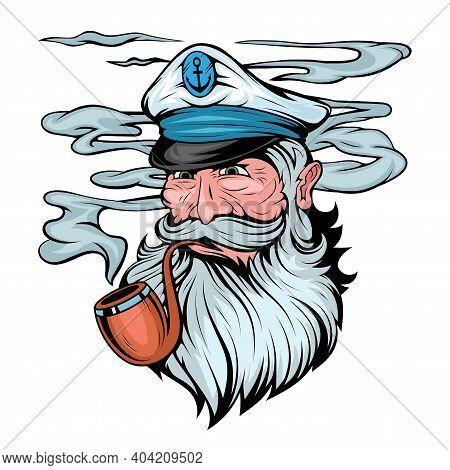 Bearded Ship Captain. Sailor Head. Sea Dog. Sailor Portrait. Captain With A Pipe. Smoking Sailor. Se