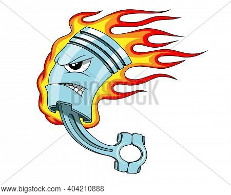 Piston. Flaming Piston Tattoo. Piston Mascot .car Club Logo. Vector Graphics To Design