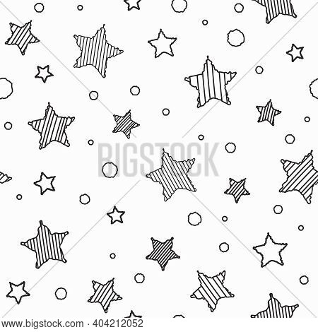 Seamless Abstract Pattern With Black Hand Drawn Shabby Striped Stars. White Background. Childish Vec