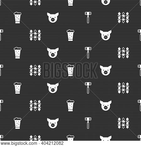 Set Kitchen Hammer, Grilled Shish Kebab, Glass Of Beer And Pig On Seamless Pattern. Vector