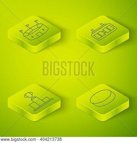 Set Isometric Hockey Mechanical Scoreboard, Hockey Over Sports Winner Podium, Hockey Puck And Hockey