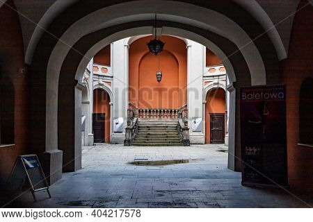 Poznan, Poland - February 15 2020 Old Stairs To Secondary School Of Ballet Of Olga Sławska - Lipczyń