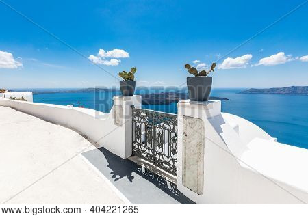 White Caldera, Volcano Of Santorini, Greece With Blue Sea And Sky. White Wash Staircases On Santorin