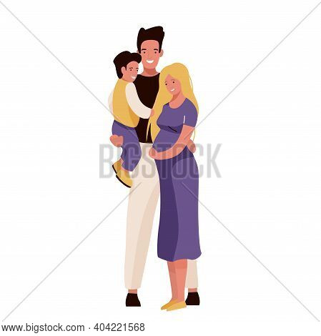 Happy Family Vector Illustration. Mom, Dad And Son Hugging, Smiling Standing. Father Hold Child On H