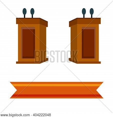 Podium For Debate. Political Tribune And Rostrum. Election Symbol With Microphone. Dialogue And Disc