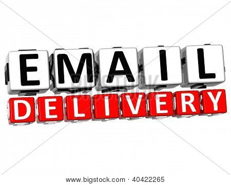 3D Email Delivery Button Click Here Block Text