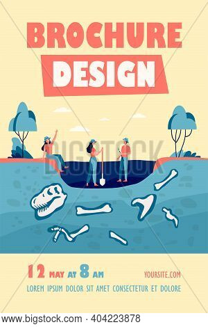 Group Of Archeologists Discovering Fossils, Digging Ground With Dinosaur Bones. Vector Illustration