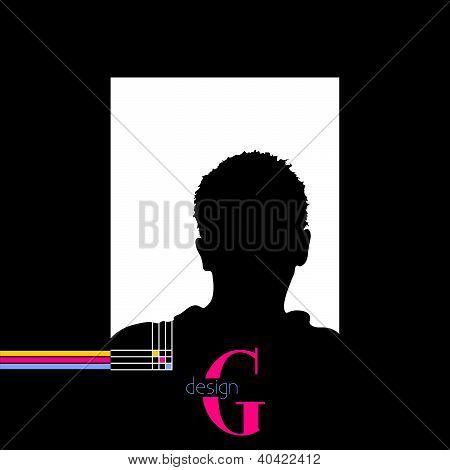 Man With G Design Sign Vector Illustration