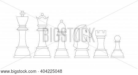Chess Pieces Line Vector Icon Set Isolated On White Background. Lineart Chess Figures - King, Queen,