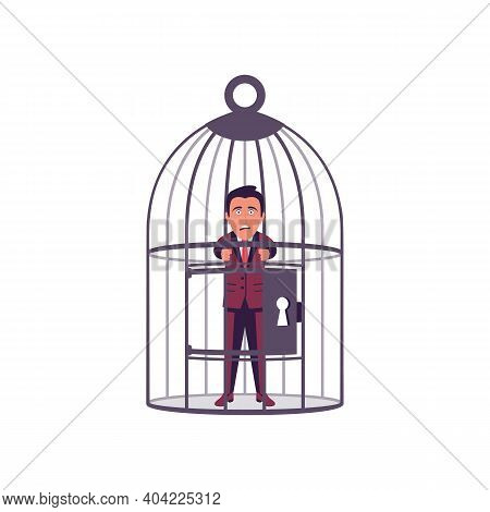 Businessman In A Cage. Cage Headed. Businessman Is Locked In A Birdcage. Opportunities Are Limited.