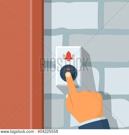 Man Presses The Doorbell Button. Call Button On A Brick Wall. Vector Illustration Flat Design. Isola