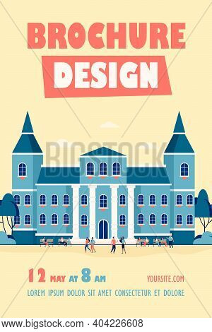 Young People Walking In Front Of College Or University Flat Vector Illustration. Cartoon Students Re