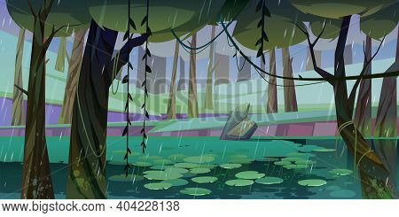 Rain In Forest With Swamp Or Lake And Water Lilies Floating. Nature Landscape With Marsh In Deep Woo