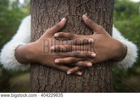 A young Asian girl holding ir hugging a tree trunk. Conceptual photo for 'save forests' message.