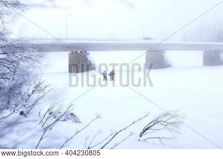 Cross Country Skiers In Dense Fog, Winter Snowy Landscape. Skiers Lost In The Fog.