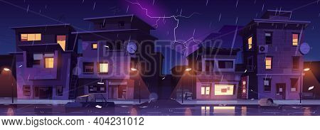 Ghetto Street At Night Rain With Lightnings, Slum Ruined Abandoned Old Buildings Flooded With Water