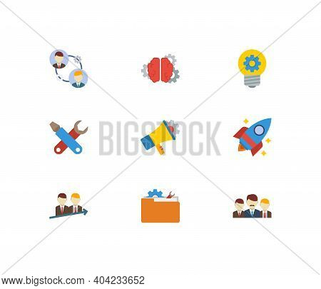 Technology Cooperation Icons Set. Teamwork And Technology Cooperation Icons With Technical Project,